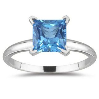 1.89 Cts Swiss Blue Topaz Solitaire Ring in 14K White Gold