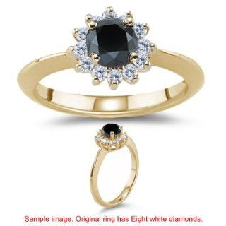 53 0.58 Cts Black & White Diamond Cluster Ring in 14K Yellow Gold 3