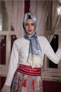 Ruched Looking Silk Shawl Light Blue Turkish Style Sal Hijab
