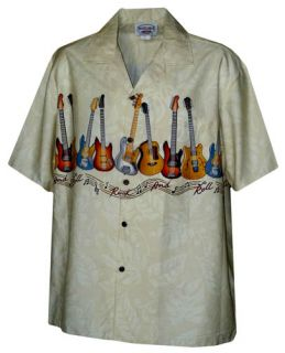 New Mens Khaki Beige Hawaiian Aloha Shirt Guitars Rock and Roll Music
