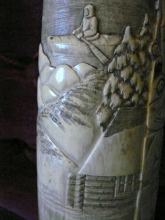 19th C North America Eskimo Hand Carved Totem Poles Polar Bear Dog