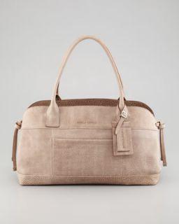 V1EVL Brunello Cucinelli Matte Pebbled Leather Satchel Bag, Gray