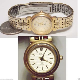Ladys Quartz Bill Blass Watch Gold Wash w Diamond in Face New Battery
