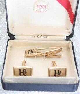 Hickok 60s Art Moderne Monogram H Cufflinks Tie Clasp