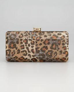 V18JC Judith Leiber Leopard Print Hexagonal Clutch Bag