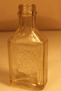 Vtg A s Hinds Embossed Glass Bottle Hand Cream Empty Portland Me USA