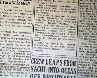 Outlaw Windy Jim Cummins Last Living Jesse James Gang Member DEATH1929