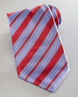 Stefano Ricci Wide Stripe Silk Tie, Red/Blue   Neiman Marcus