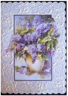 Carol Wilson Happy Birthday Greeting Purple Licac Card