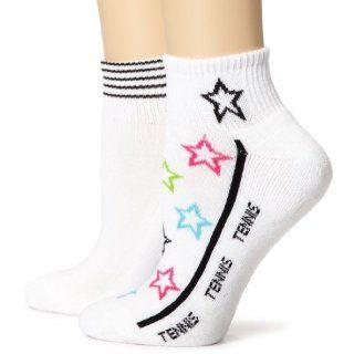Socks Womens Tennis Star Footie 1/2 Cush 2p, White, 9 11 Clothing