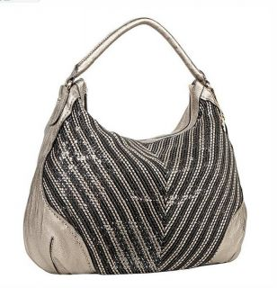 Amy Gunmetal Woven Sequin Large Hobo Bag Handbag Fall 2012 $95