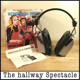 Vintage Monita Transistorized Headphone Radio Am FM Headset Original