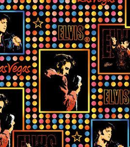 Elvis Photos and Polka Dots Fleece Fabric by The Half Yard
