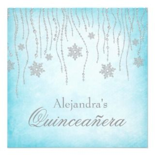 Winter Wonderland Diamond Snowflakes Quinceanera Personalized Invites