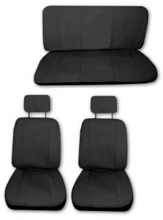 Velour Fabric Solid Black Car Truck Seat Covers 6pc Pkg G