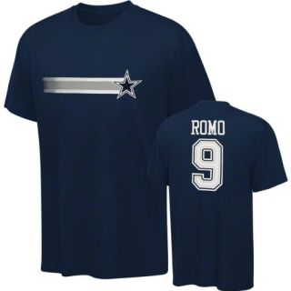 Tony Romo Navy Name & Number Stripe Away T Shirt: Sports & Outdoors