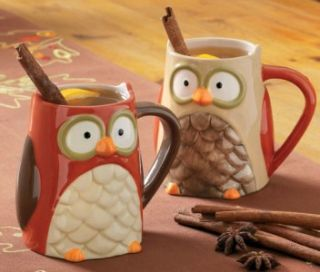 Owl Mug Coffee Tea Cup Set of 2 by Tag 651030 Fall Halloween New 2011