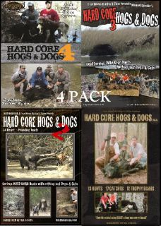 Hog Dog Hunting DVD HARD CORE HOGS & DOGS 4 PACK BOAR HUNTING SUPPLIES