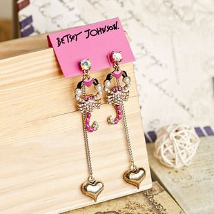 exquisite crystal scorpion and heart shaped pendant earrings E083