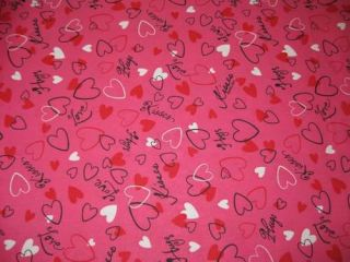 Curtain Valance Valentine Hugs Kisses Hearts Deep Pink