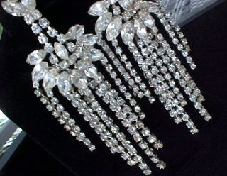 Vintage Extra Long CASCADING Prong set Marquise & Rhinestone Clip On
