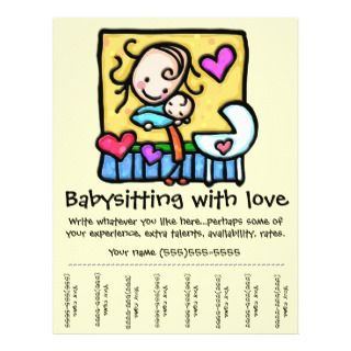 LittleGirlie Babysitting custom tear sheet flyer