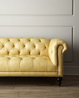 Old Hickory Tannery Fenway Tufted Leather Sofa   Neiman Marcus