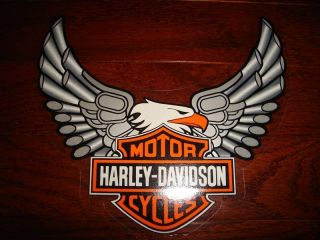 Harley Davidson Vintage Large Silver Eagle Pipe Decal Inside New WOW