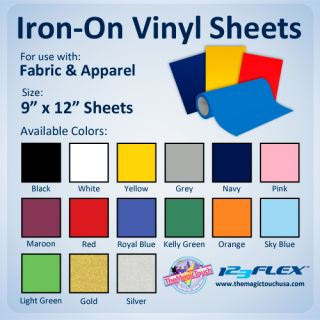 Iron on Heat Transfer Vinyl for Fabric 9 x 12 Sheets for All Cutting