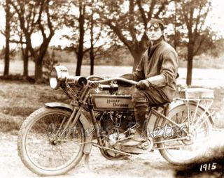Fantastic 1915 Harley Davidson Motorcycle with Rider Racing Racer