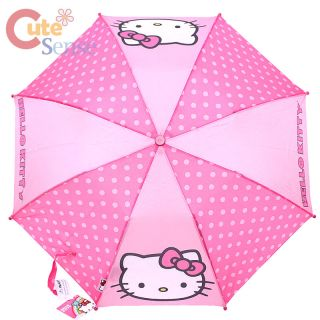 Sanrio Hello Kitty Retractable Umbrella Kitty Face with Pink Polka