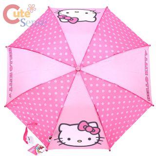 Sanrio Hello Kitty Retractable Umbrella Kitty Face with Pink Polka