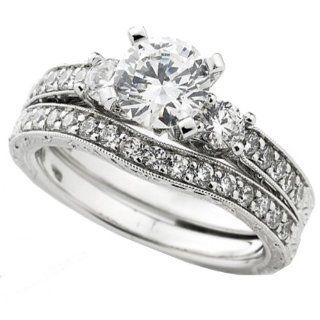 75 Carat (Ctw) 14k White Gold Round Diamond Ladies Bridal 3 Stone