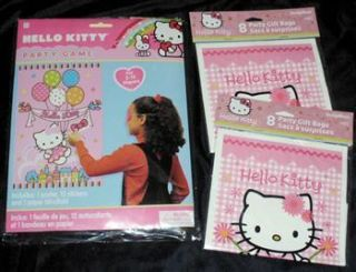 New SEALED Hello Kitty Pin The Bow Party Game 16 Goody Favor Bags