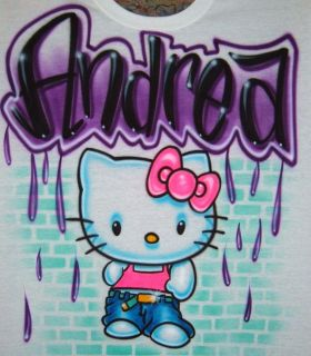 Airbrush Personalized Name with Hip Hop Hello Kitty T Shirt