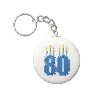 80 velas del cumpleaños (azul/verde) llavero de