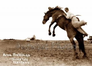 Photo Rodeo Round Up Cowboy Arno Hollings Old Miles City Montana MT