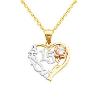 14K 3 Tri color Gold 15 Años Heart Charm Pendant with