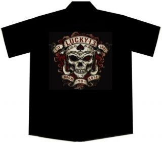 Skull Biker Work Shirt, Motor Skull, Lucky 13: Clothing