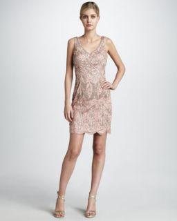 Sue Wong Embroidered Ostrich Trim Dress
