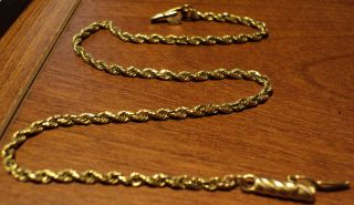 14k solid yellow gold rope bracelet 8 inch barrel clasp nice