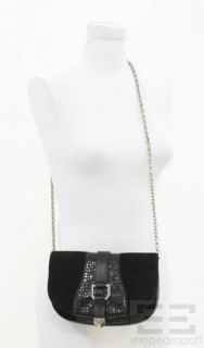 Henri Bendel Black Suede & Silver Buckle Chain Strap Crossbody Bag