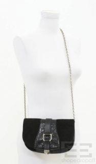 Henri Bendel Black Suede & Silver Buckle Chain Strap Crossbody Bag