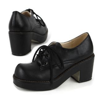 WOMENS CHUNKY HEELS PLATFORM LACE UP OXFORD COMFORTABLE SHOES