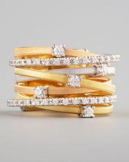 Marco Bicego Goa Diamond Mixed Gold Ring, 7 Stack