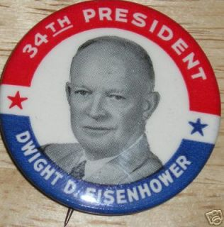 Campaign Pin Pinback Button Political Dwight Eisenhower