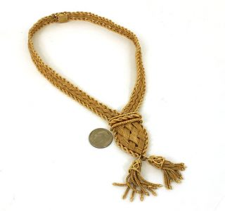 hefty vintage 14k woven style ladies tessel necklace