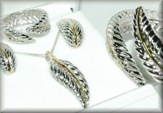 Sterling Silver Eagle Feather Necklace Earrings Ring Bracelet Full