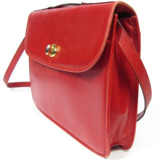 Mark Cross Red Leather Portfolio Briefcase Shoulder Crossbody Bag