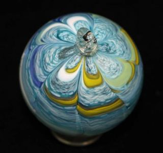 Unique Aqua Blue Hand Blown Glass Christmas Ornament Collector Item